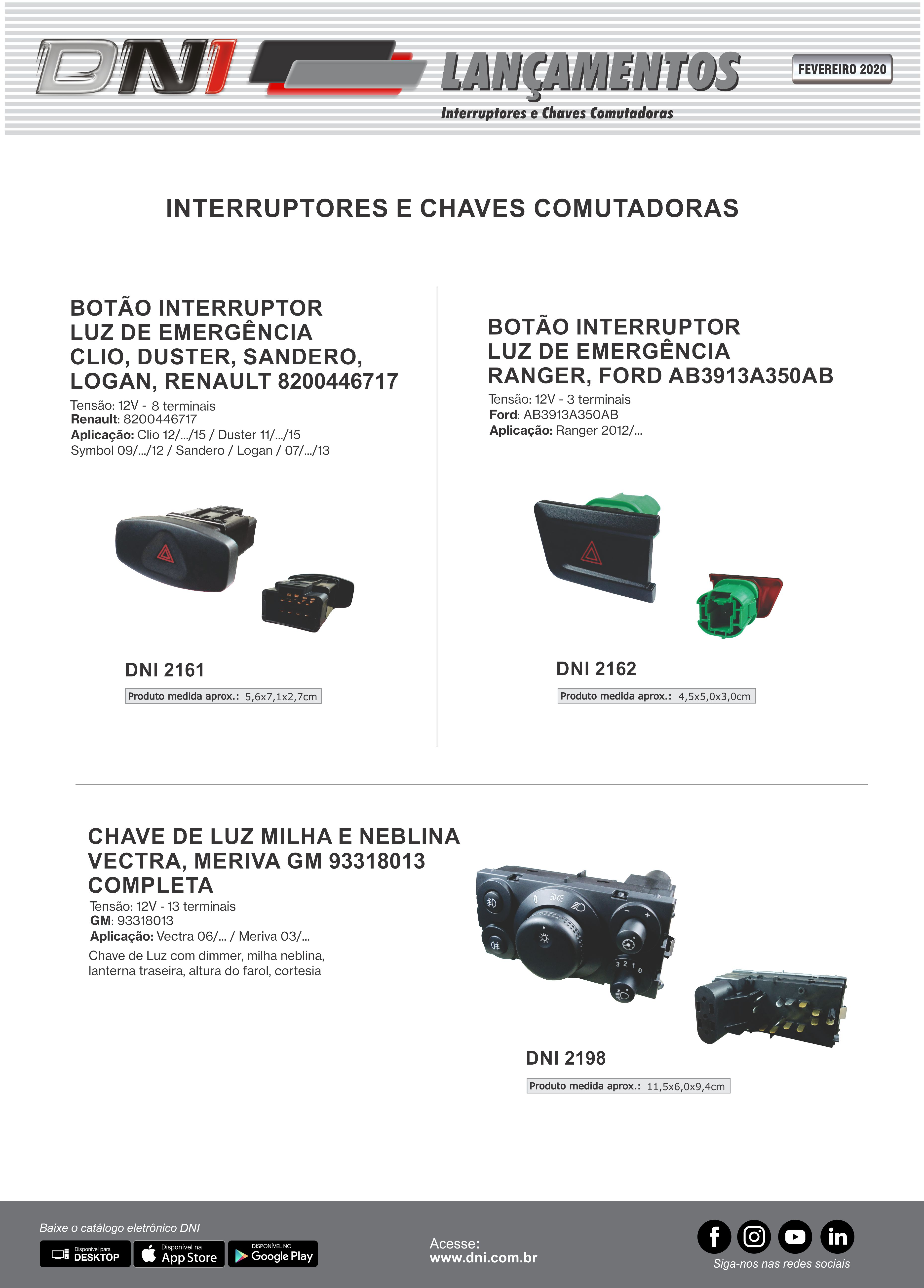 Emergency Switches and Light Switch Ford, Renault, GM - FEV/20