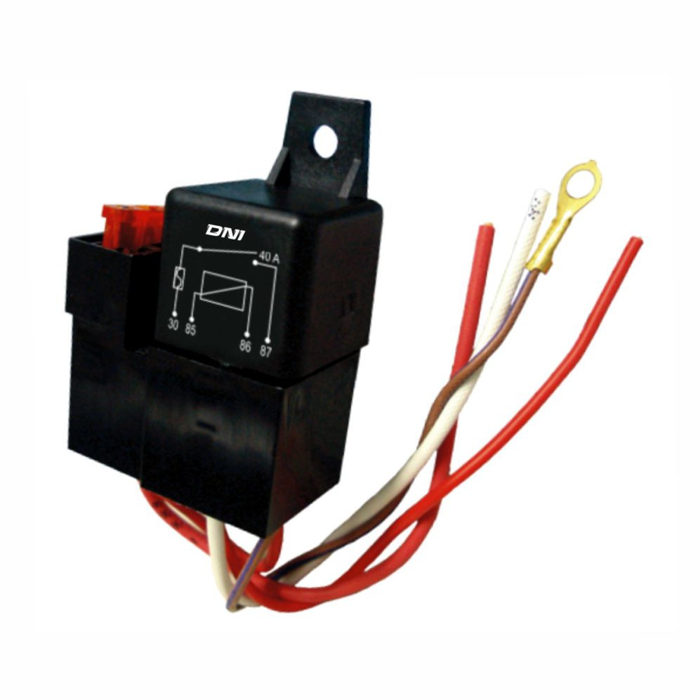 DNI0110 – Relay socket, Whipping, Fuse, 4 Terminals – 40A – 12V