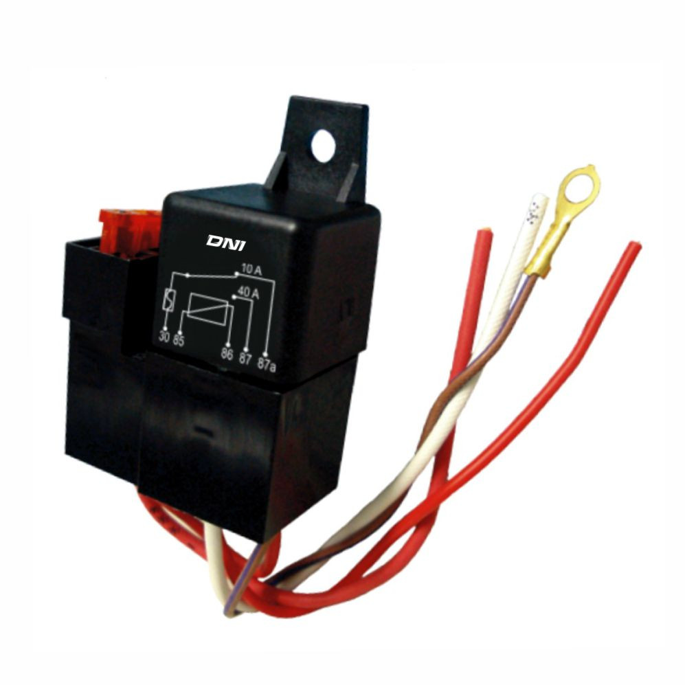 DNI0114 – Relay socket, Whipping, Fuse, 5 Terminals – 40/10A – 12V