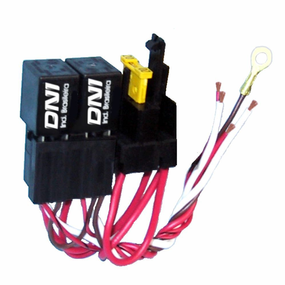 DNI0218 – 2 Mini Relays with Socket, Whipping, Fuse, 4 terminals – 40A – 24V