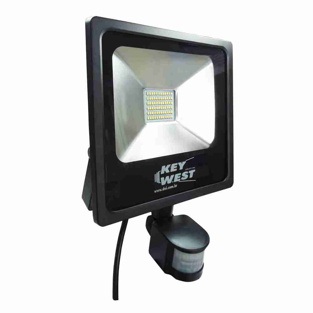 DNI6035 – floodlight spotlight 30W LED Slim  with Sensor White Cold  – Bivolt