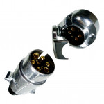 DNI8373 - Round Coupling of socket  6 Poles Full (Fixed and Mobile) - Chrome Plastic - 12/24V