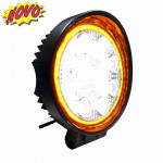 DNI4181 - White Round LED Working Light w / Amber Ring 27W - 9 to 48Vdc