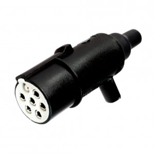 "DNI8315 - Electric socket coupling round 7 poles male (Mobile) type ""S"" - Black/White Nylon - 12 / 24V"