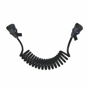 DNI8344 - Electric Whipping spiral for trucks 7 poles with 2 male socket black nylon - 4,5m