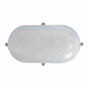 DNI6202 - Oval LED White Milky Bulkhead cool white - dual voltage